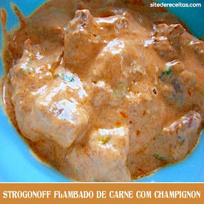 Strogonoff flambado de carne com champignon