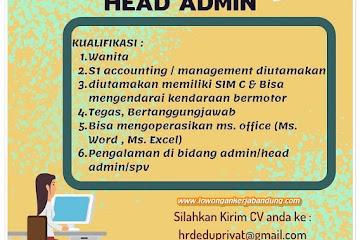 Lowongan Kerja Head Admin Edu Privat