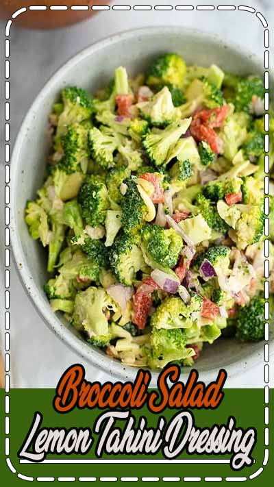 Crunchy broccoli salad with lemon tahini dressing is a simple healthy twist on a classic dish! This simple salad only has 9 ingredients and takes 5 minutes to make! Vegan, gluten free, dairy free, paleo, low carb, Whole30 and keto friendly! Perfect for weeknight dinners, cookouts or meal prep!