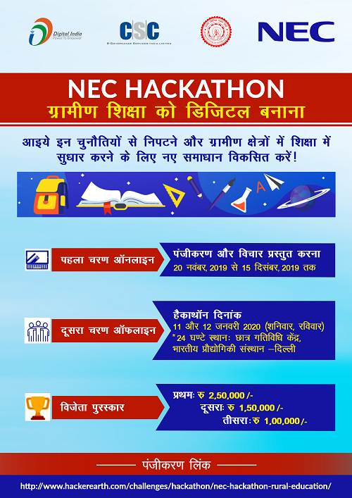 CSC, NEC & IITD Joint Hackathons, Programming Challenges, And Coding Competitions