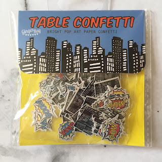 table confetti package, cityscape and comic pow