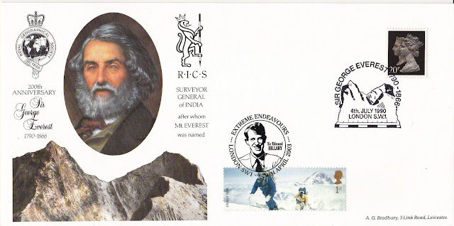 1990 George Everest 200th Anniv Cover Doubled 2003 Endeavours Issue