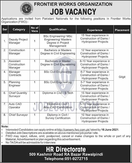 Jobs in Rawalpindi Frontier Works Organization June 2021