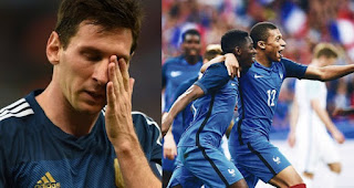 Argentina crashes out of World Cup as France defeat them, 4-3.