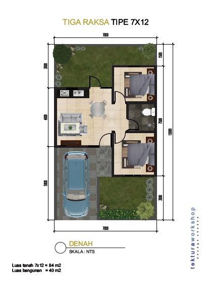 Desain Rumah Minimalis Ukuran 7x12 Meter  koleksi denah rumah minimalis ukuran 7x12 meter