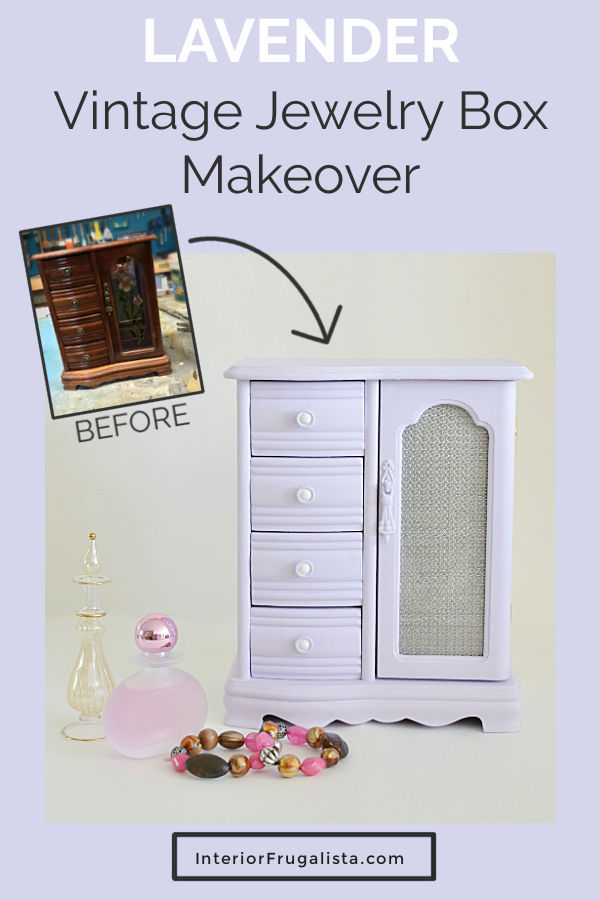 A soft lavender vintage jewelry box armoire thrift store upcycle with chalk style paint plus how to replace the door glass with unique wire cloth. #jewelryboxmakeover #upcycledjewelrybox #lavenderjewelrybox #jewelryarmoiremakeover