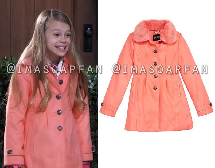 Charlotte Cassadine, Scarlett Fernandez, Coral Pink Coat with Faux Fur Collar, General Hospital, GH