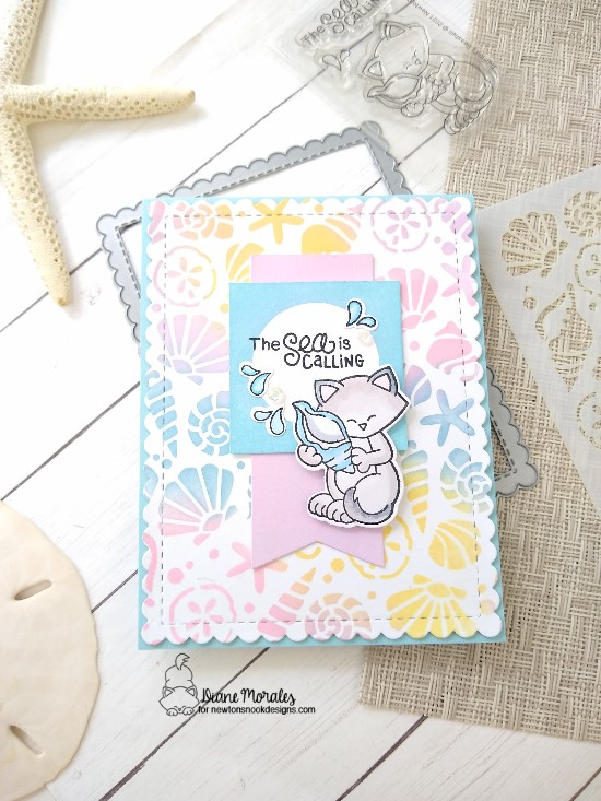 The sea is calling by Diane features Frames & Flags, Newton's Seashell, and Seashells by Newton's Nook Designs; #inkypaws, #newtonsnook, #catcards, #cardmaking, #summercards