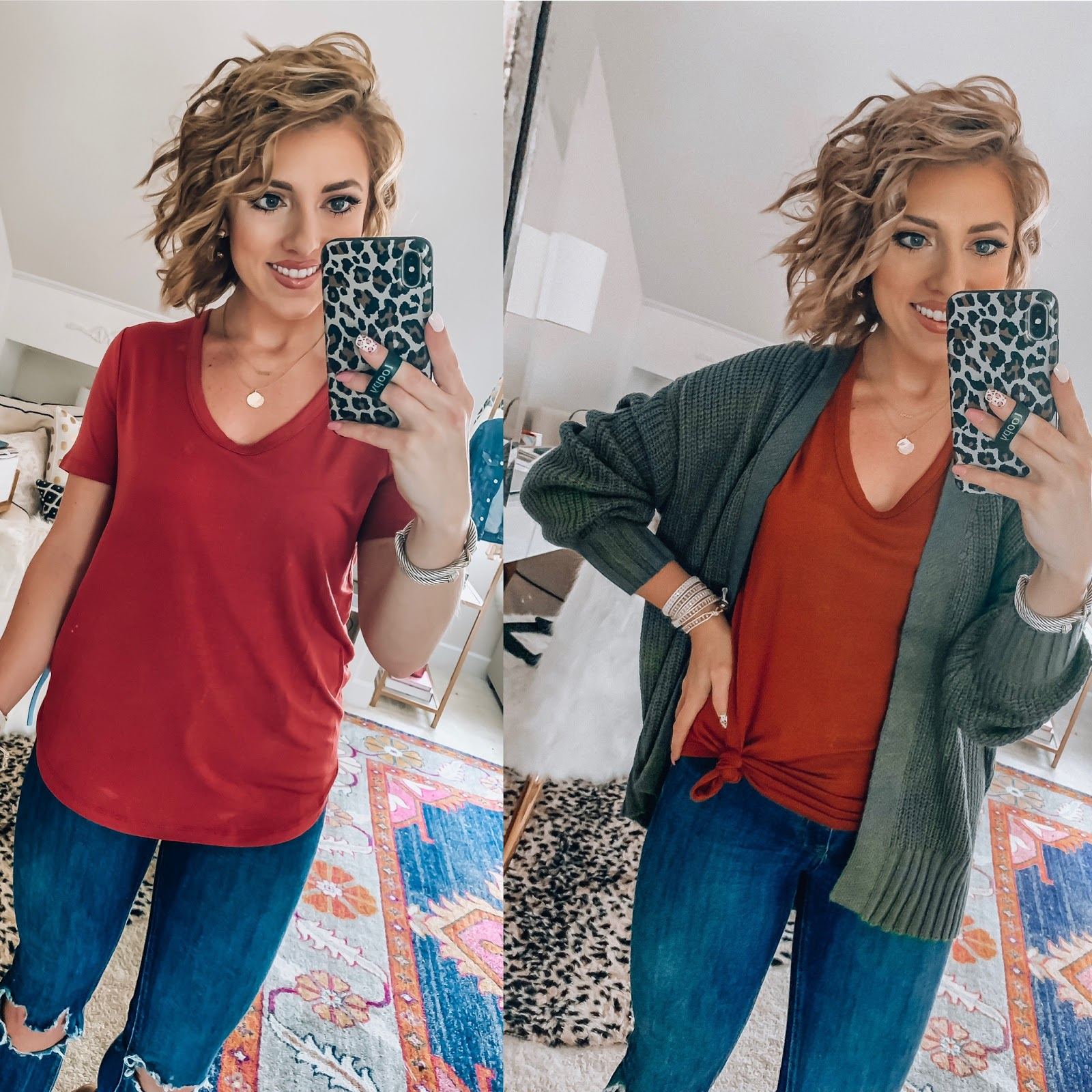 Target Fall Finds: Part 2 - Ultra Soft T-Shirt with $20 Olive Cardigan - Something Delightful Blog #fallfashion #leopard #pajamas #targetstyle #targetfallfinds