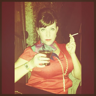Bridget Eileen Posing as Joan Holloway Harris for Halloween