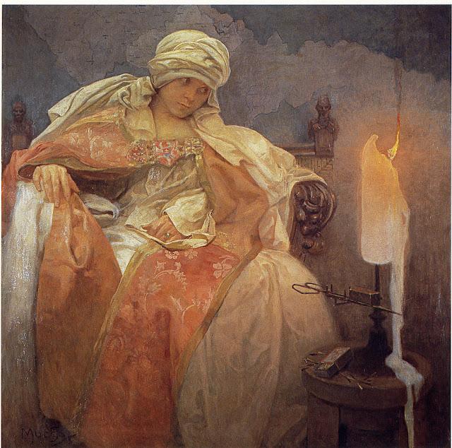 Альфонс Муха - Женщина с горящей свечой. 1933