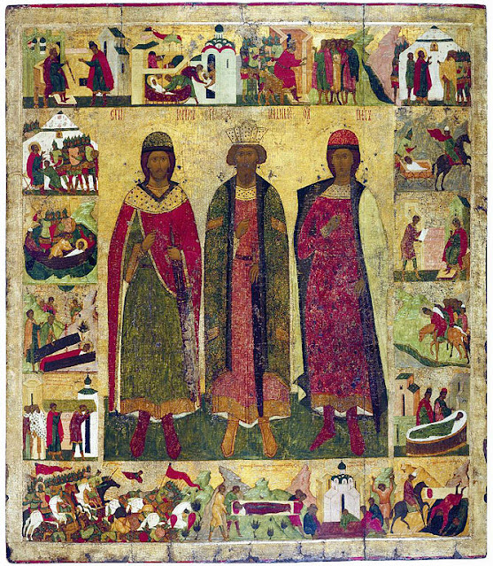 Icon of Princes Vladimir, Boris, and Gleb, with the Life of Boris and Gleb