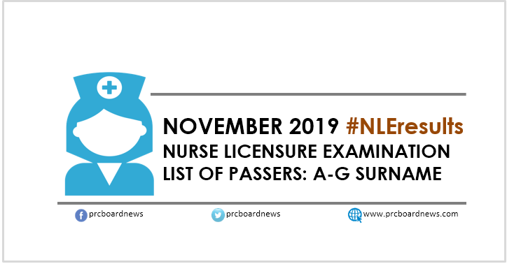 A-G Passers List: November 2019 NLE nursing board exam result