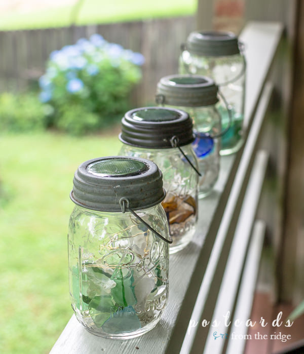 solar powered glass mason jar lanterns with sea glass inside