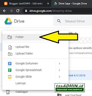 membuat folder google drive untuk pengumpulan laporan tugas