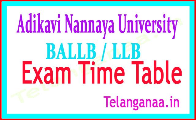 Adikavi Nannaya University BALLB / LLB 5th Sem 2018 Exam Time Table