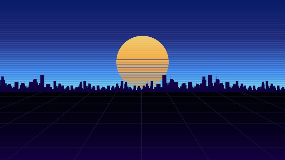 Night, City, Minimalist, Digital Art, Synthwave, 4K, #6.2498