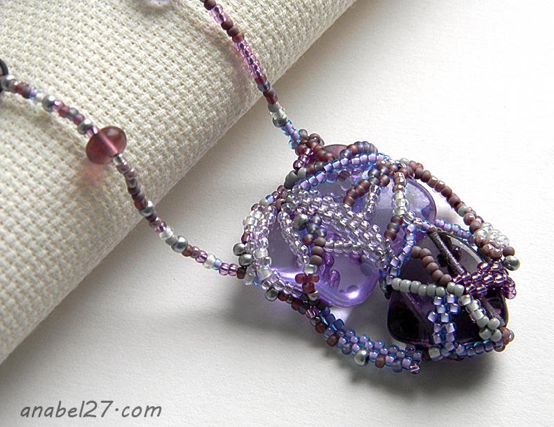 """Фриформ-кулон """"Violet Heart"""""""