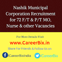 Nashik Municipal Corporation Recruitment for 72 F/T & P/T MO, Nurse, DEO cum Accountant, ANM, Peon, LT, TBHV Vacancies
