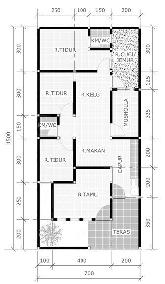 gambar denah rumah minimalis sederhana 3 kamar tidur 1 mushola