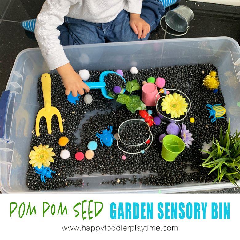 Spring sensory bin for toddlers