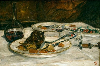 Painting of a dinner. Three plates with beef and vegetables; silverware; wine carafe and glasses; on a table with a white tablecloth.