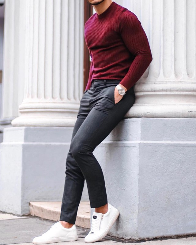 Burgundy, sweat shirt and grey trousers