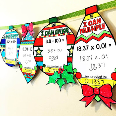 Multiplying and Dividing Decimals by Powers of 10 Holiday Ornaments
