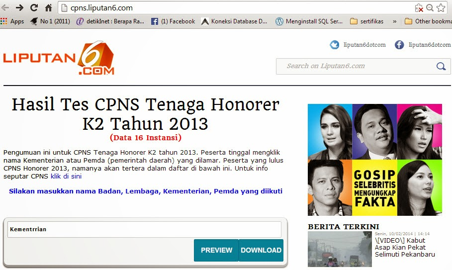 Pengumuman Honorer K 2 Bkd Pemkot Pangkalpinang 2013  Hasil Pengumuman Lulus Honorer Kategori 2 Melalui Pdf