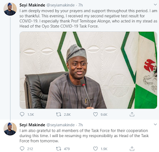 Seyi Makinde Oyo State governor, recovers from Coroanvirus