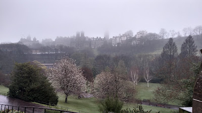 Foggy view of Princes Street Gardens