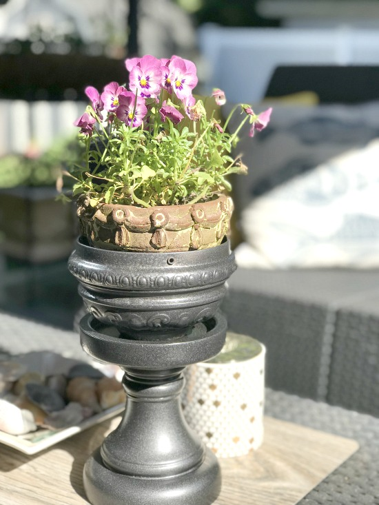 Repurposed Lamp Parts Pedestal Planter