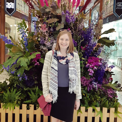 Brisbane Arcade spring flower show awayfromblue instagram jacquard jacket grey tee striped scarf business casual outfit