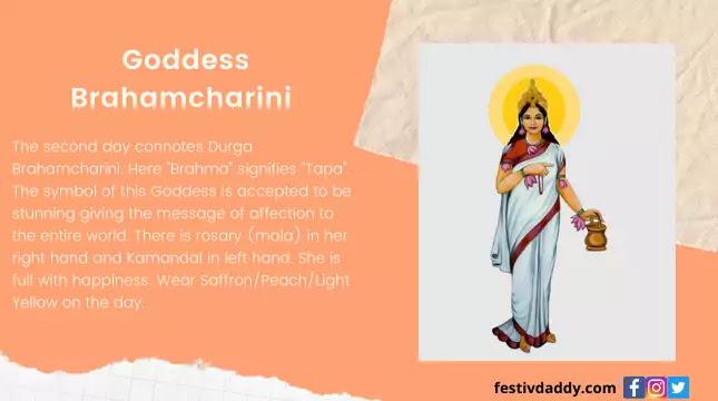 Goddess Brahamcharini Navratri Second Day Colors