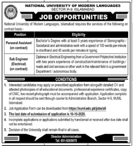 national-university-of-modern-languages-numl-personal-assistant-jobs-2020-latest