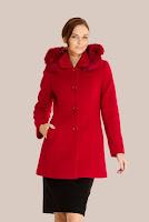 Palton rosu cu gluga din stofa de lana 417A (Ama Fashion)