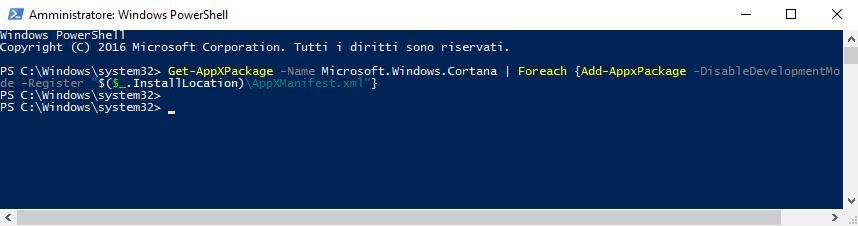 Windows 10: Reset Cortana tramite PowerShell