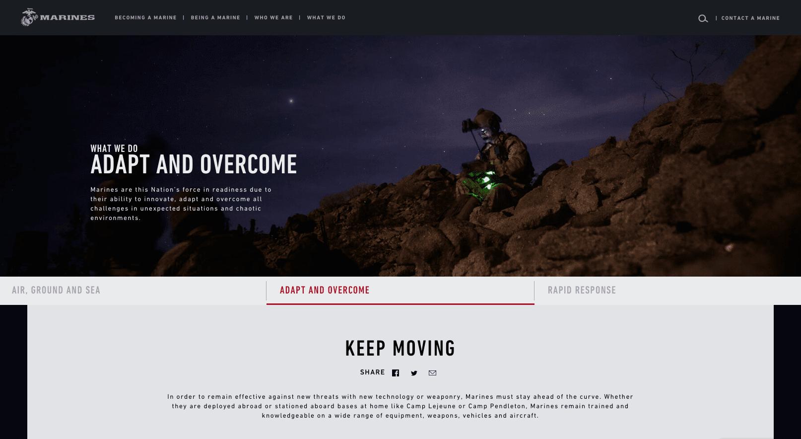 Screengrab of the Marines' recruitment website features a dark mode design