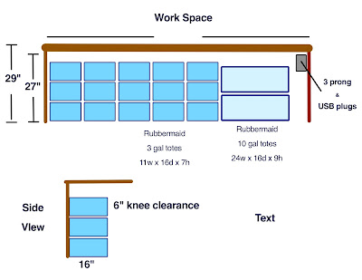 Drawing showing one possible under table storage configuration