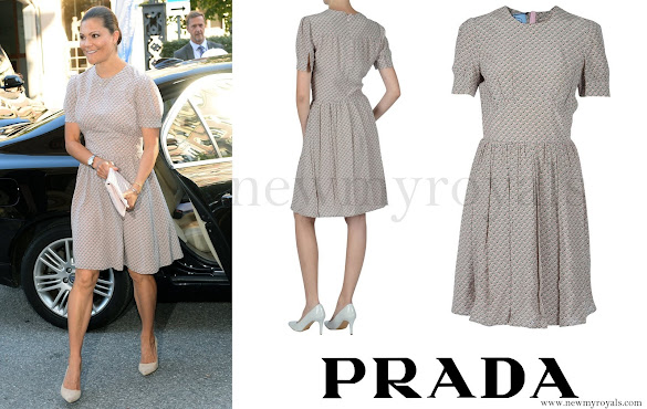 Crown Princess Victoria Prada Pink and Green Printed Dress