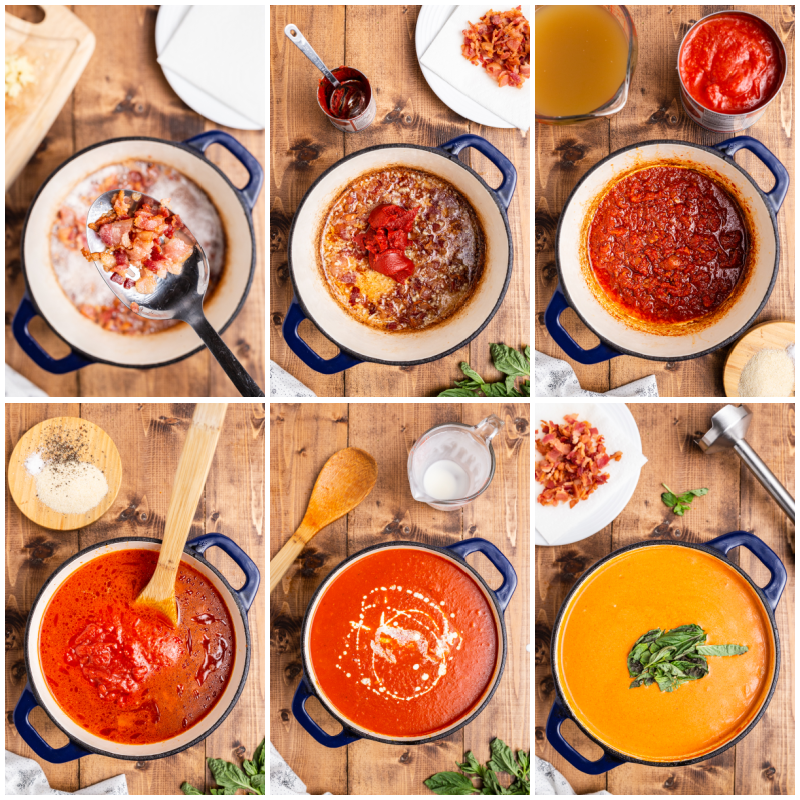 Six overhead photos of the process of making Keto Tomato Bisque with Bacon.