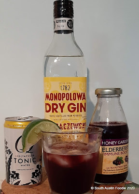Elderberry, gin + tonic
