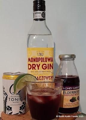 Elderberry, gin + tonic