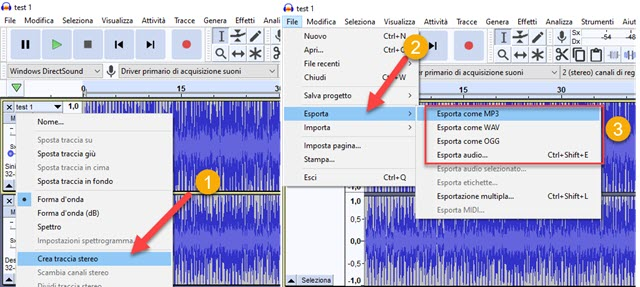 esportare file audio da audacity