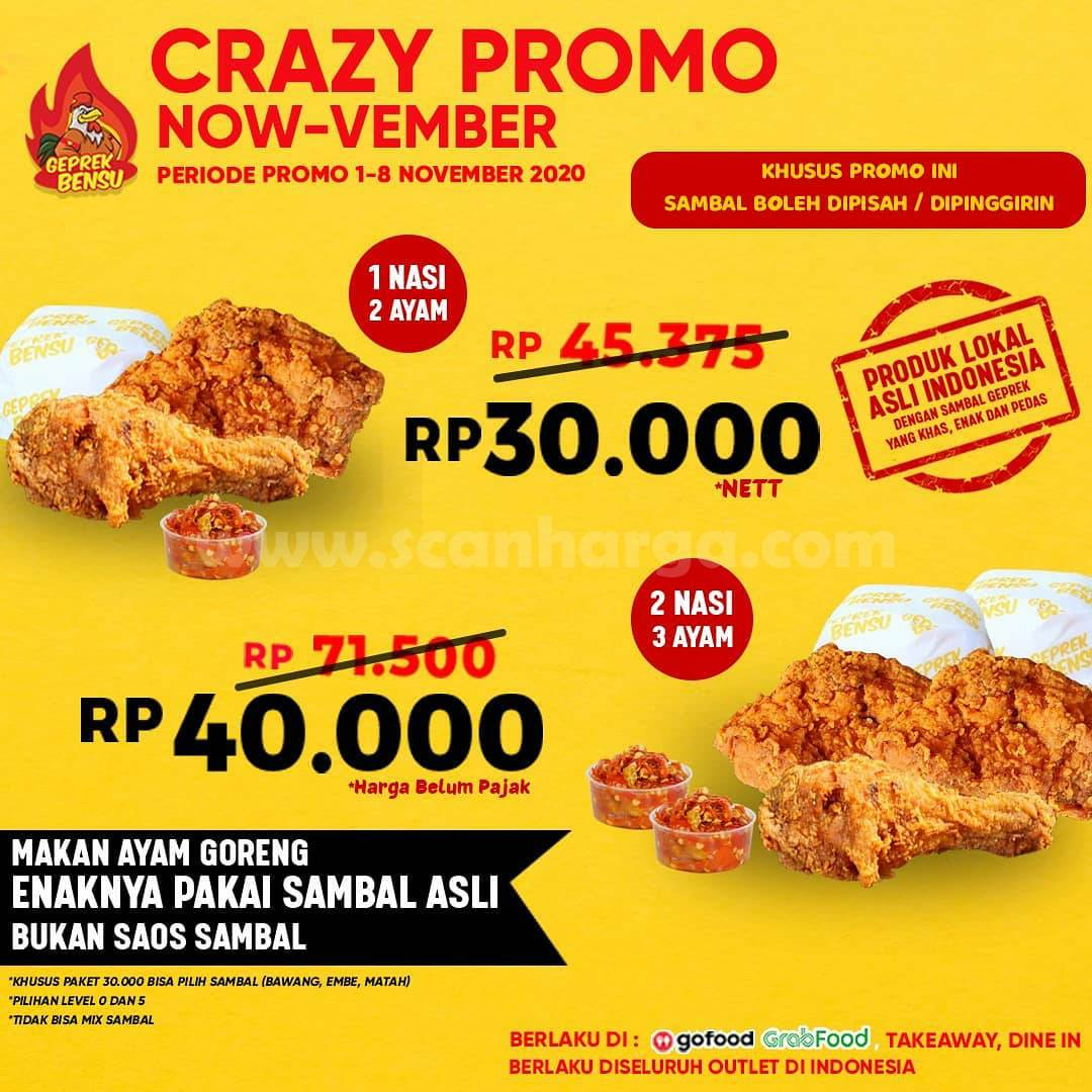 GEPREK BENSU Promo CRAZY Now-Vember 2 Ayam + 1 Nasi cuma Rp 30.000