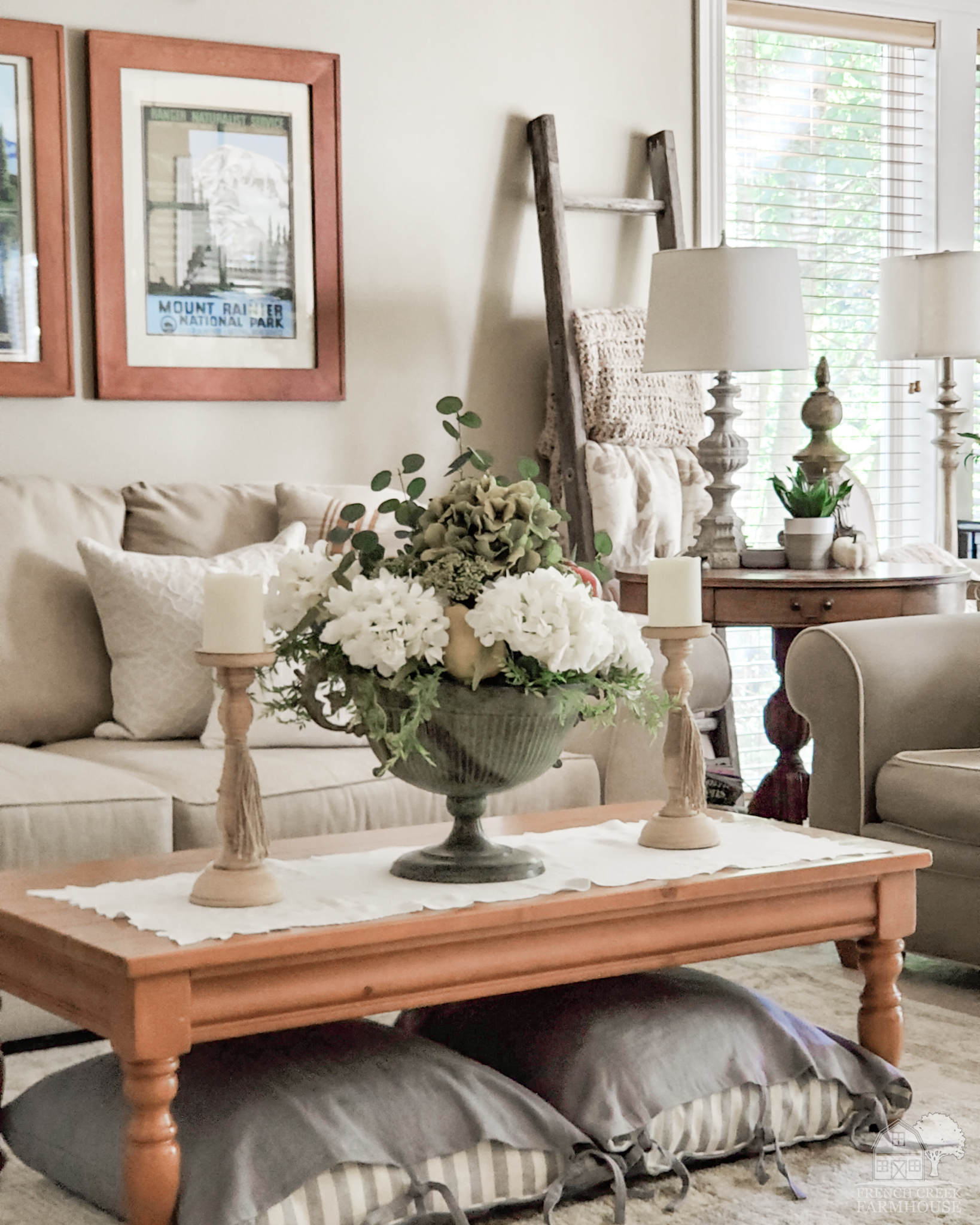Cozy neutral decor and florals are ideal for autumn