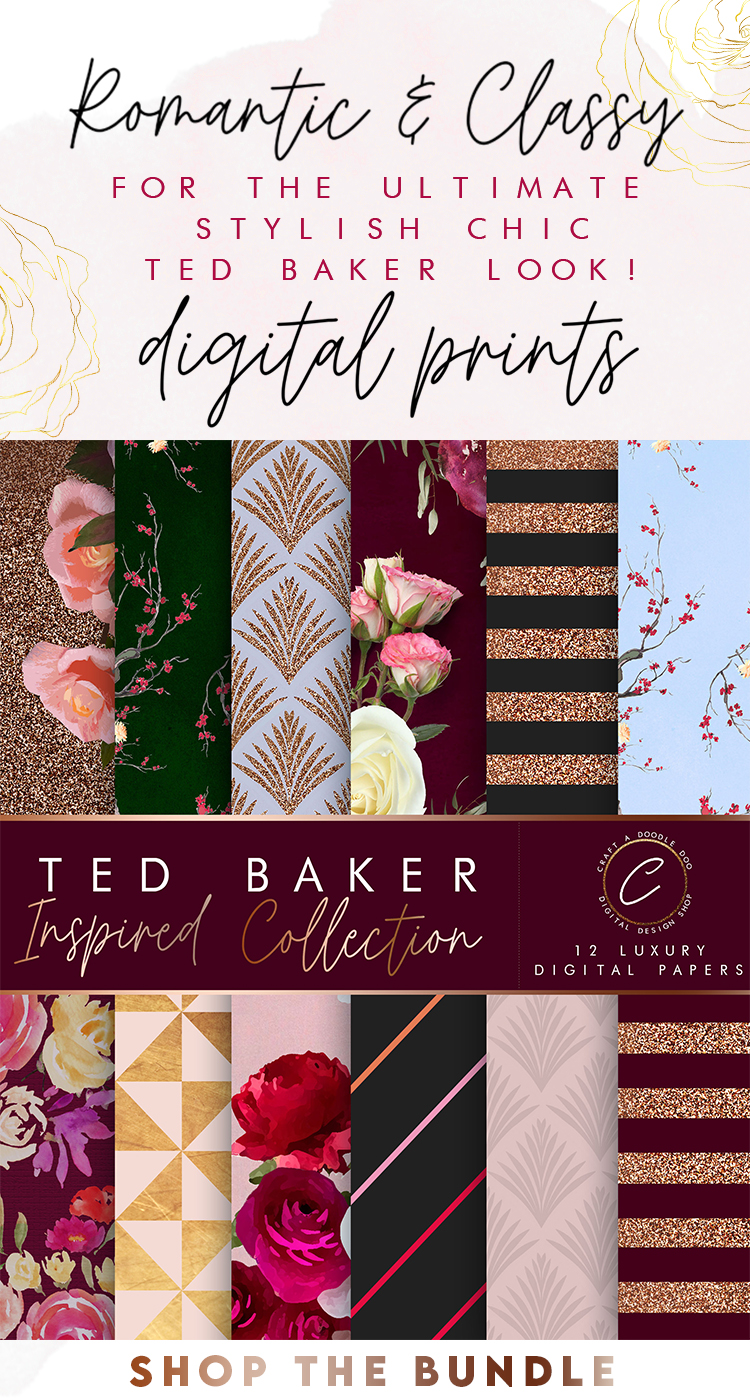 Luxury Chic Ted Baker Style Digital Paper Pack for Scrapbooking, Planning, DIY Projects and Online Digital Design projects by Craft A Doodle Doo #goldglitterprintables #tedbakerstyle #femininepaperpack #chicdigitaprints #blushandgold #paperbundle