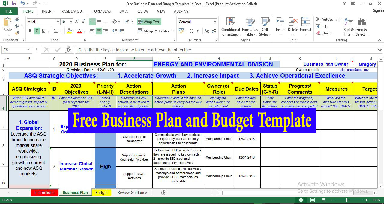 Free Business Plan and Budget Template in Excel