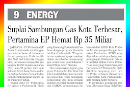 The Largest City Gas Connection Supply Pertamina EP saves Rp 35 Billion