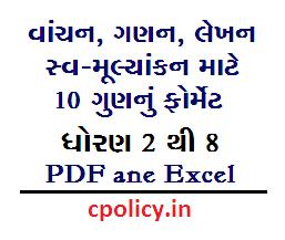 FLN Vanchan-Ganan-Lekhan Mulyankan Format For Std 3 to 8